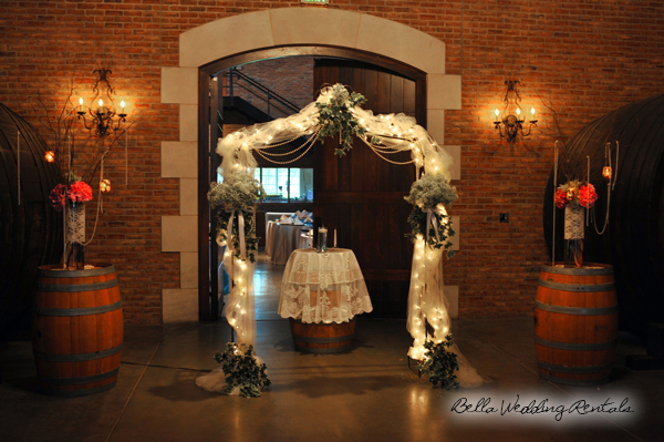 Wedding Arch with Wine Barrels